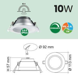 IP64 LED Downlight 10W Specs