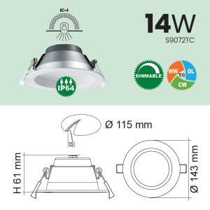 14W IP64 LED Downlight Specs