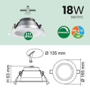 18W IP64 LED Downlight Specs