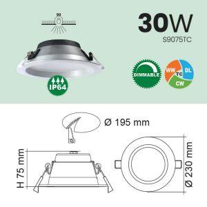 30W IP64 LED Downlight Specs