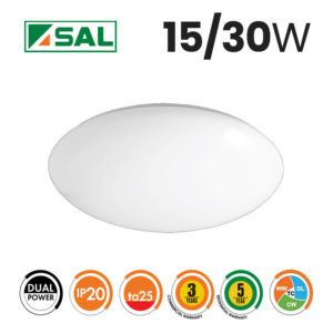 SAL 15/30W Dual Power Opal LED Oyster Light Box of 8 Specs
